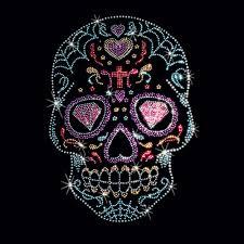 rhinestone studs sugar skull t shirt mens spider web hearts black