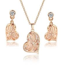 rose gold tone necklace images Rose gold tone vintage asymmetrical heart from arco iris jewelry jpg