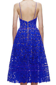 royal blue lace hollow out illusion cocktail party dress