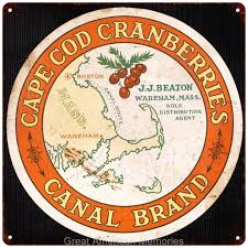 cape cod look cape cod cranberries label vintage look reproduction 12x12 metal