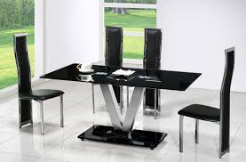 Contemporary Black Dining Chairs Contemporary Black Rectangle Glass Dining Table With Four Black