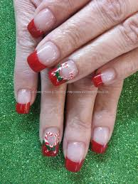 red tips with christmas candy cane freehand nail art nail art