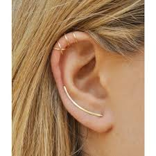 earring on ear modern minimalist set of 3 smooth ear climbers ear cuff
