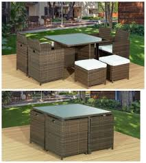 brand new brown 9pc cube rattan garden furniture set chairs sofa