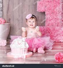 baby girl birthday 1 year baby girl pink dress stock photo 721208416