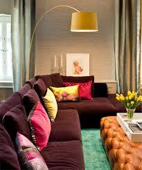 Purple Leather Sofa Sets Interior Modern Fresh Living Room Decoration With L Shape Orange