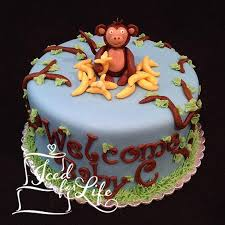 monkey baby shower cake monkey boy baby shower cake iced for