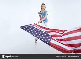 Waving American Flag Happy Waving Usa Flag U2014 Stock Photo Natashafedorova 154664384