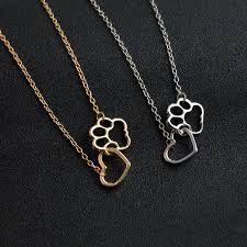 gold dog pendant necklace images Quality linked heart and dog paw necklace silver and gold trendy jpg