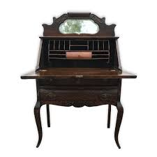 antique victorian tiger oak mirrored drop front secretary writing