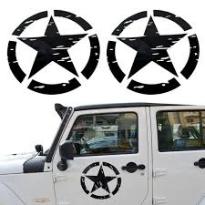 jeep grill sticker bbq fuka 2pcs new pair 41x41cm black us army military star car