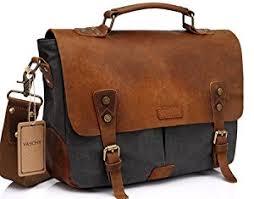 Cowhide Briefcase Amazon Com Vaschy Casual Genuine Leather Canvas Messenger Bag