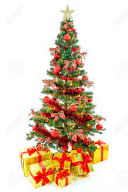 christmas tree with white lights and red bows luxury golden colored gifts with red ribbon under a beautiful