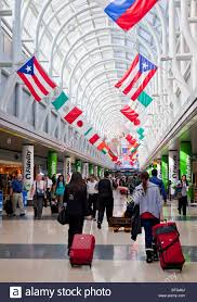 Air travellers in concourse h american airlines chicago o 39 hare