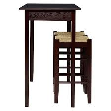 three piece table set 3 piece counter height table set wood brown linon home décor target