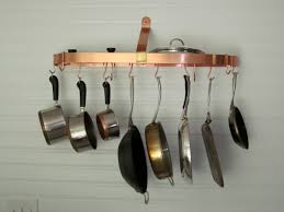 lighted hanging pot racks kitchen wall mounted pot and pan rack our kitchen pinterest pot rack