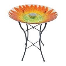 wilson and fisher solar lighted bird bath luminous garden glass metal assorted 21 6 in h solar bird bath with