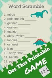 free printable dinosaur baby shower word scramble baby shower