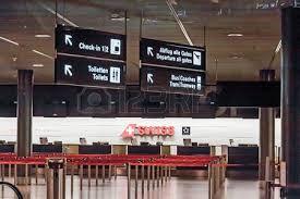 check in desk sign zurich switzerland june 11 2017 zurich airport check in
