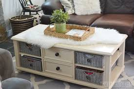 Painted Coffee Table How To Paint Wicker Baskets With Chalk Paint A Coffee Table