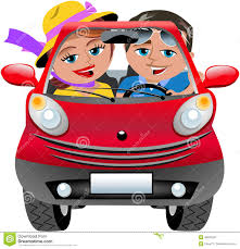 cartoon convertible car happy couple travelling car isolated stock vector image 49523047