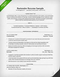 Resume Template For Bartender Bartender Resume Sle Resume Genius