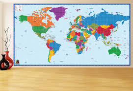 World Map Wall Decal Children Educational Wall Stickers World Map 96h