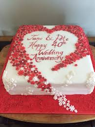 wedding anniversary cakes hearts and flowers 40th wedding anniversary cake ruby wedding