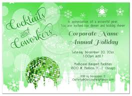 green trendy cocktails and coworkers holiday party invitations