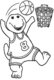 barney playing basketball barney friends colouring