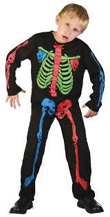 childs skeleton boy multi colour bones costume halloween pirates
