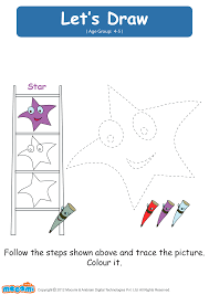 lets draw a star drawing worksheets for kids mocomi