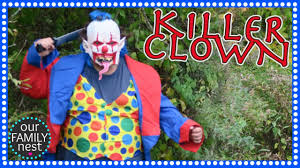 scary killer clown chases kids in the woods parents prank kids