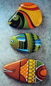 fish easy rock painting designs ideas
