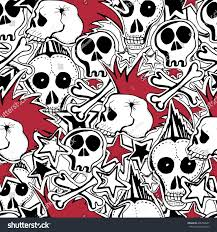 seamless pattern crazy punk rock abstract stock illustration