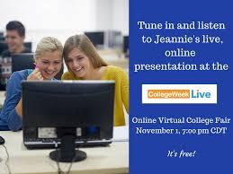 hear me speak at this online virtual college fair nov 1st