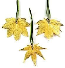 real leaf ornament set of 3 contemporary ornaments