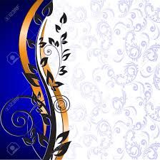 blue and gold ribbon beautiful floral pattern and gold ribbon on a blue background