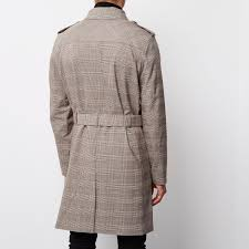 river island light brown fine check mac in brown for men lyst