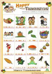 teaching worksheets thanksgiving pictionary