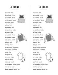 ropa expanded spanish clothing vocabulary word search