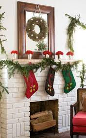 decoration christmas decorate fireplace mantel decor with plant