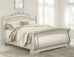 Iron Sleigh Bed Cassimore North Shore Pearl Silver King Sleigh Bed