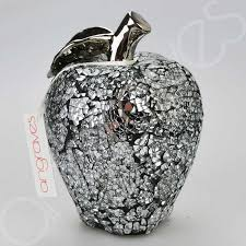 large silver mosaic glass apple ornament black cement 17cm