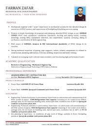 Plumbing Resume Sample by Hvac Engineer Cv 2015