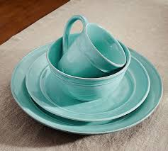 cambria 16 dinnerware set turquoise blue pottery barn