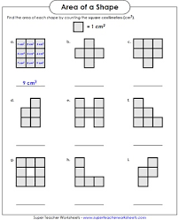 area worksheets counting square units