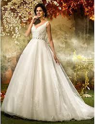 sequined wedding dress a line princess v neck sweep brush tulle sequined wedding