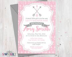 arrow baby shower invitations pink and gray baby shower