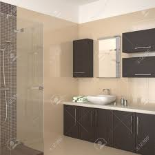 modern bathroom with dark wood equipment stock photo picture and